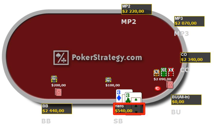 Cours de poker jouer paire de 3 en push or fold