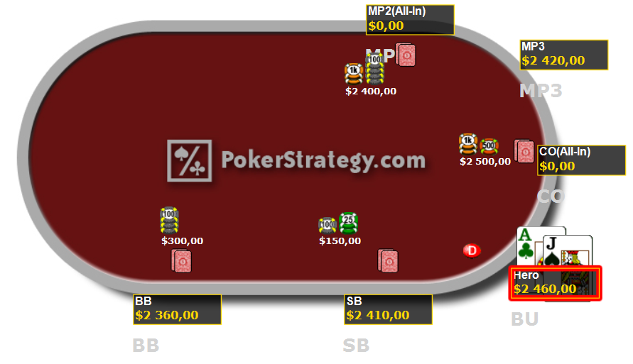 Cours de poker jouer AJo avec deux joueurs à tapis