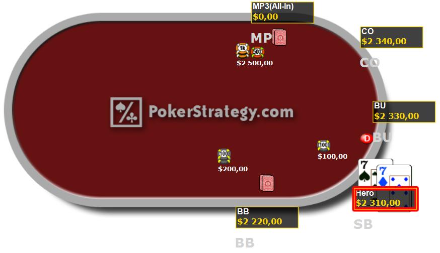 Cours de poker jouer paire de 7 à tapis égal ITM
